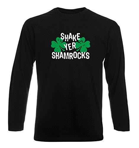 T-Shirt por los Hombre Manga Larga Negra TIR0176 Shake YER Shamrocks