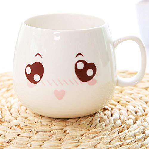 Creatieve leuke schaal met deksel keramische lepel met grote capaciteit melkopje koffiekopje beker express, 11-KL21,301-400ml