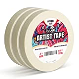TSSART 3 Pack White Artist Tape - Masking Artists Tape for Drafting Art Watercolor Painting Canvas Framing - Acid Free 0.8inch Wide 540FT Long Total