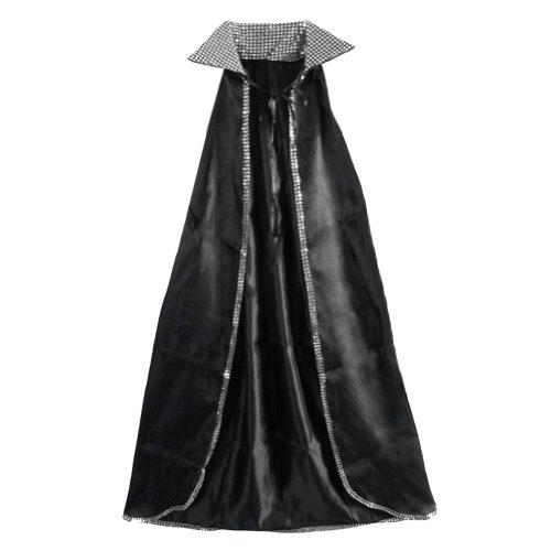 SeasonsTrading 52' Silver Sequin Black Cape - Halloween Costume Accessories (STC11512)