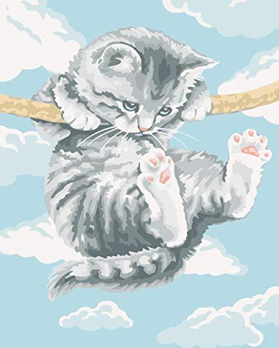 DIY Ölgemälde Erwachsene Kletterstange für Katzen Malen Nach Für Home Restaurant Bar Haus Dekor.kreative Geschenke - 40x50 cm (Ohne Rahmen)