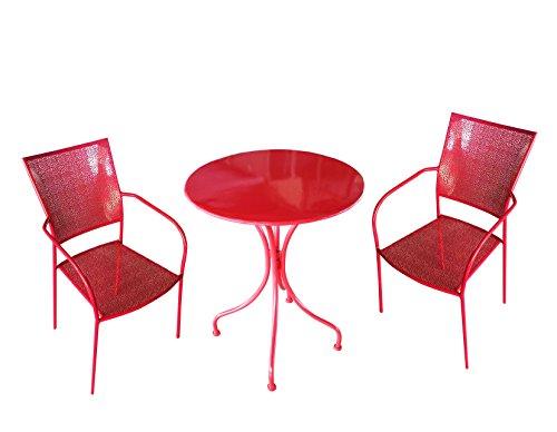 MaisonOutlet Set 2 Sedie e Tavolino Tondo in Ferro zincato Colore Rosso - ARREDO da Giardino in Ferro MIGLIOR Prezzo
