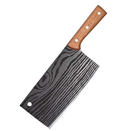 NEWRX Couteau de Cuisine en Acier Inoxydable Laser Damas Motif 4Cr13 Couteaux de Cuisine légumes Viande Chopper Cleaver Accessoires de Cuisson