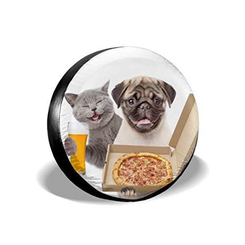 LYMT Grappige Kat met Bier en Puppy met Open Pizza Boxe Car Wheel Protector Wiel Protector Tire Cover Fit voor SUV en Veel Voertuig 14-17inch