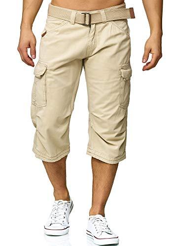 Indicode Herren Nicolas Check 3/4 Cargo Shorts kariert mit 6 Taschen inkl. Gürtel aus 100{8adc681f7db10413c9b5bead3d51b765f231d563b42bab5e0dff591eb4b4f731} Baumwolle | Kurze Hose Sommer Herrenshorts Short Men Pants Cargohose kurz für Männer Fog L