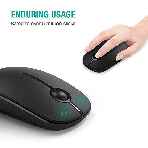 Kabellose Maus, Jelly Comb 2.4G Maus Schnurlos Wireless Kabellos Optische Maus mit USB Nano Empfänger für PC/Tablet/Laptop und Windows/Mac/Linux (Schwarz)