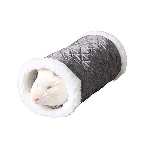Pequeña Mascota Animal túnel Juguete Invierno Caliente Polar Tubo escondite Cama Juego túnel para hámster/Rata de ratón (Negro)