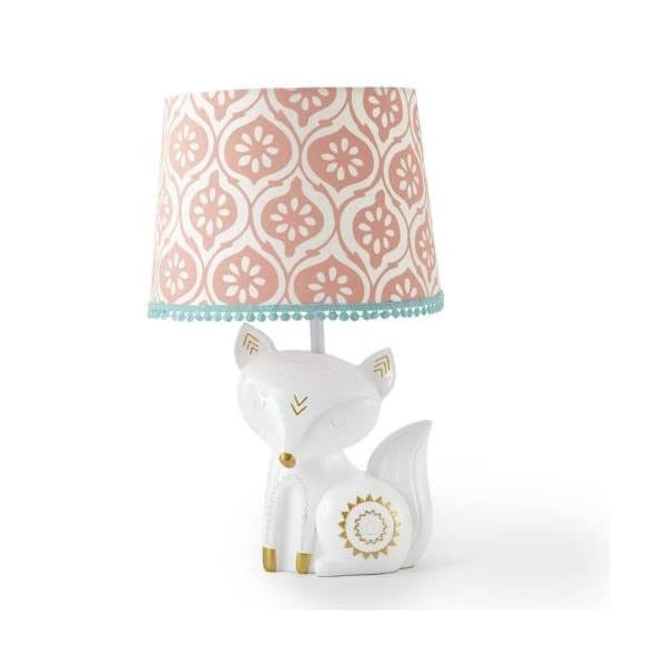 Levtex Baby – Fiona Table Lamp – Spindle Base with Pink Rosette Shade – Nursery Lamp – Base and Shade – Pink, Teal, White – Nursery Accessories – Measurements: 22 in. high and 6 in. Diameter