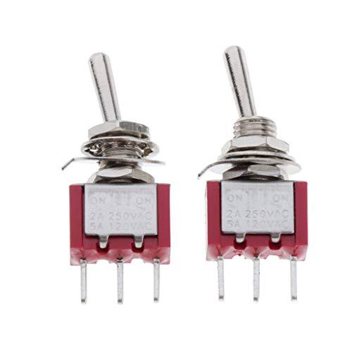 yotijar 2x Interruptores de Palanca de 3 Clavijas SPDT ON-ON PCB Lug 2A 250VAC High