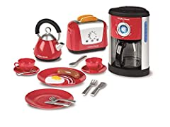 Teach your kids how to pull their weight, so they can start helping you out sooner Complete set of kitchen appliances with contemporary styling Fill-able coffee maker which allows water to pour into the coffee pot Kettle with level gauge indicator To...
