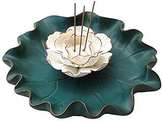 Incense Stick Holder, Ceramic Incense Burner - Retro Lotus Flower Incense Holder 7.3 inches Wide to Catch More Ashes