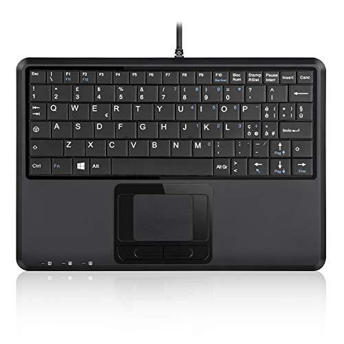 Perixx PERIBOARD-510H Plus - Mini Tastiera USB con Touchpad e 2 Porte USB, Tasti silenziosi, Layout Italiano