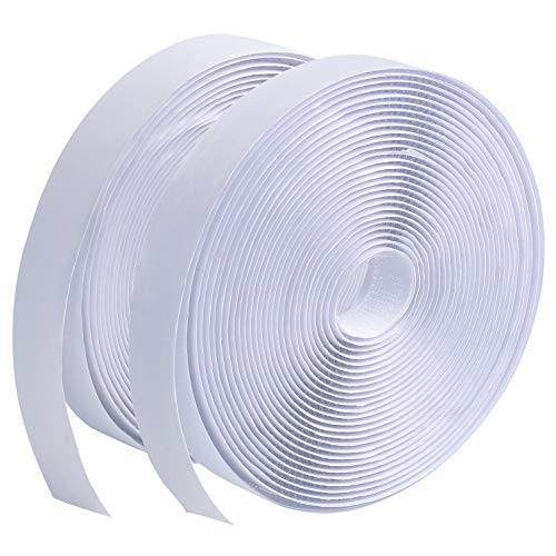 LLPT Hook and Loop Tape 3/4 Inch x 23 Feet Each Roll Heavy Duty Adhesive Industrial Strength Hook Loop Strip Mounting Tape for Indoor and Outdoor White (HTW030)