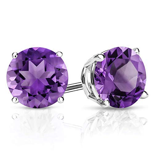 Gem Stone King 925 Sterling Silver Purple Amethyst Gemstone Birthstone Stud Earrings, 2.40 Ctw Round 7MM