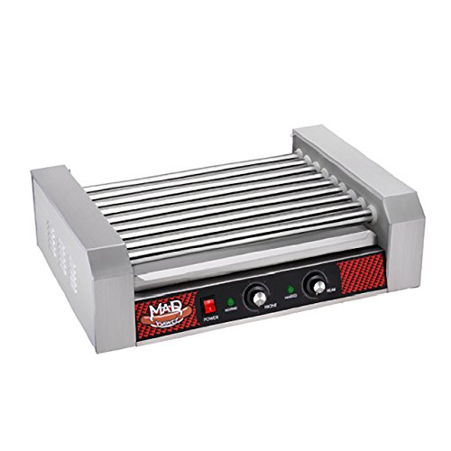 Great Northern Popcorn Company 4079 GNP Hotdog 9 Machine Hot Dog Rolling Grill, 9 Roller, Silver