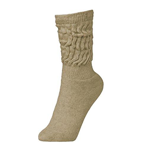 BRUBAKER Womens Or Mens Fitness Workout Slouch Socks Gym Beige EU39-42 / US6.5-10
