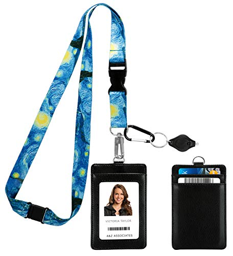 Vincent Van Gogh The Starry Night Print Lanyard with PU Leather ID Badge Holder Wallet with 3 Card Pockets, Safety Breakaway Clip & Matching Note Card. Gift of Carabiner Keychain Flashlight.