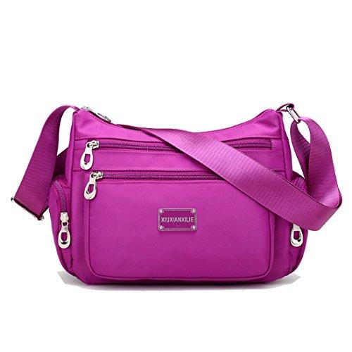 Howoo Nylon Beiläufig Mode Multi-Taschen Schultertasche Handtasche Bote Umhängetasche Reise Geldbörse für Frauen/Mädchen helles Lila
