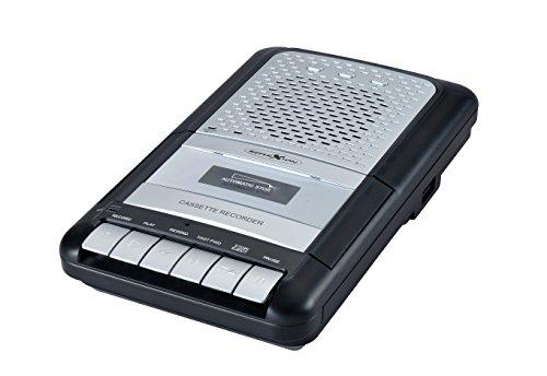 Reflexion, CCR8012 Kassettenrecorder Retro, UKW / MW Radio, tragbar, eingebautes Mikrofon und Lautsprecher, Diktiergerät USB, AUX-In, Kopfhöreranschluss, Mikrofon mit Standfuß, Schwarz, Silber