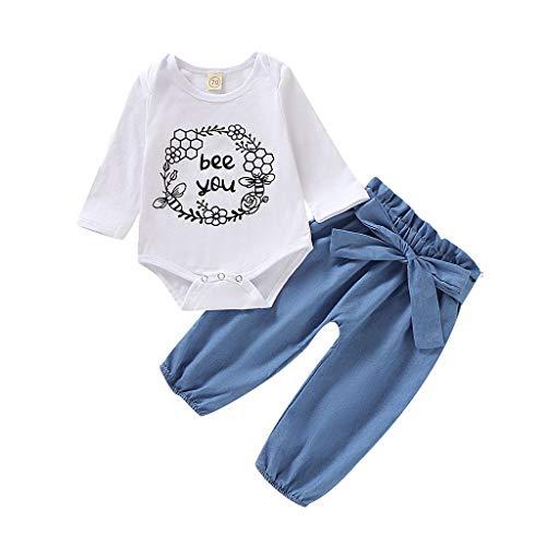 Zegeey MäDchen Baby Junge Strampler Strampler Einfarbig Bowknot Hosen Outfits Bekleidungssets Festliche Geburtstag Geschenk(A-Weiß,60-70)