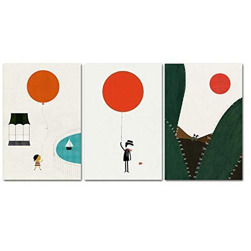 Dlfalg Kwekerij Muur Art Ballon Abstract Poster en Print Kind Stijl Canvas Schilderij Nordic Modern Kid Babykamer Decoratie- 40 * 60Cm*3 Niet ingelijst