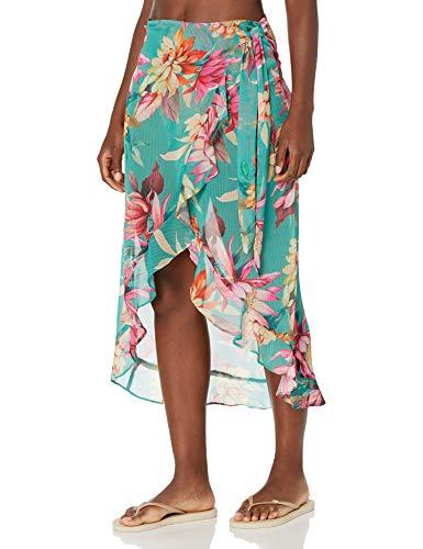 La Blanca Women's Wrap Ruffle Pareo Swimsuit Cover Up, Aloe Green//Garden Social, M