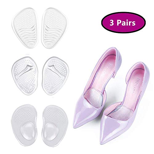 Metatarsal Pad, Ball of Foot Gel Pads, High Heel Cushion Insert for Women Foot Pain Relief, Anti-Slip Soft Forefoot Shoe Insole, One Size fits All, Pack of 3