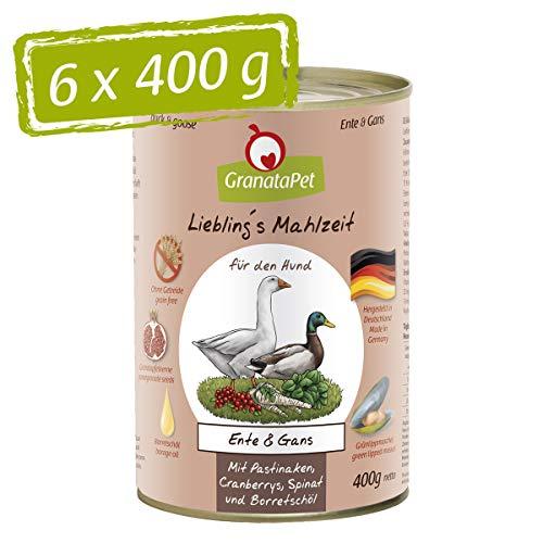 GranataPet Liebling's Mahlzeit Ente & Gans, Nassfutter für Hunde, Hundefutter ohne Getreide & ohne Zuckerzusätze, Alleinfuttermittel, 6 x 400 g