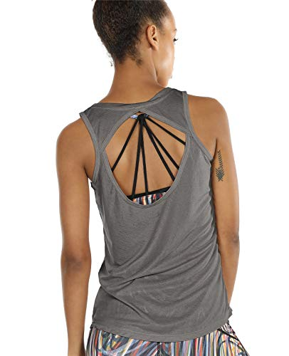 icyzone Open Back Yoga Tops for Women - Activewear Workout Clothes Exercise Fitness Tank Tops Gym Shirts(S, Grey)