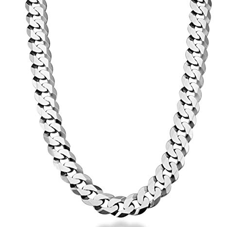 Miabella Solid 925 Sterling Silver Italian 12mm Solid Diamond-Cut Cuban Link Curb Chain Necklace for Men, 18, 20, 22, 24, 26, 28 Inch Made in Italy (24, Sterling Silver)