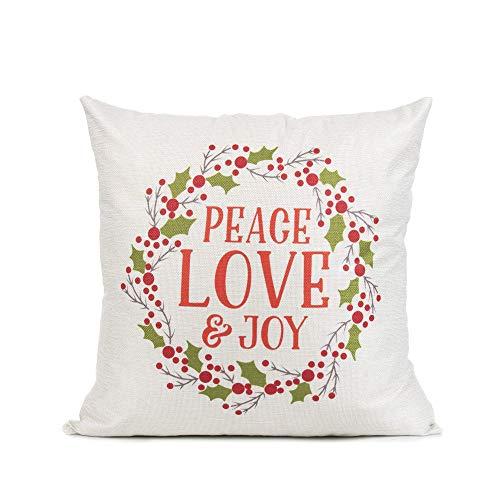 Funda de cojín decorativa, 45,7 x 45,7 cm, rústica, corona de Navidad, amor y alegría, para sofá, cama, decoración