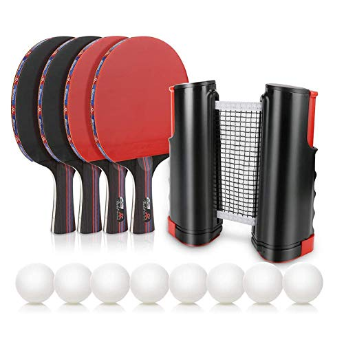 Purchase Sports Ping Pong 4 Paddles Set Table Tennise Kit With 1 Net , Premium Rackets, 8 Balls, Por...