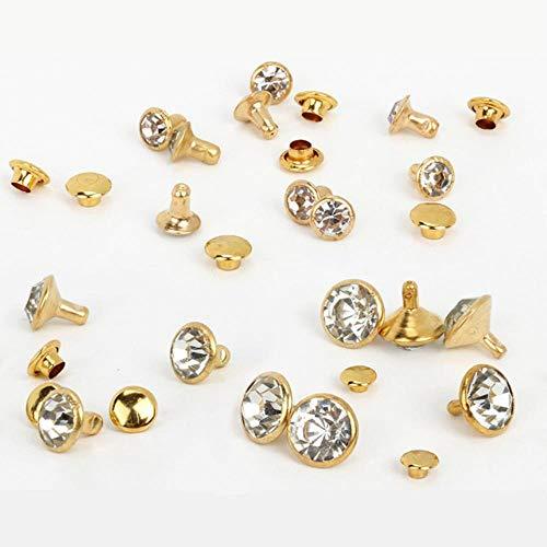1000 set oro plata rhinestone cristal remaches DIY ropa bolsa cuero artesanía decoración prenda costura vidrio taladro clavo botón, oro, 10 mm