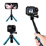 TELESIN Selfie Stick Tripod Stand Mount Handheld Extendable Monopod Pole Compatible for GoPro Max, Hero 9 8 7 6 5 4, Session 4/5, DJI Osmo Action, Insta 360 One R and More Action Cameras