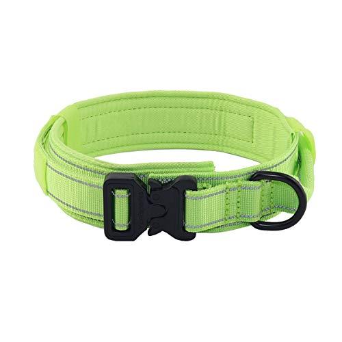 Yunleparks Taktisches Hundehalsband, stark reflektierend, Nylon, mit robuster Metallschnalle und Griff, für mittelgroße und große Hunde, 3,8 cm Breite (XL, Grün)