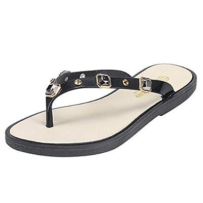 RAINED-Women's Casual Flip-Flops Beachwear Slippers Comfortable Non-Slip Sandals Beaded Walking Sandals Summer Slippers