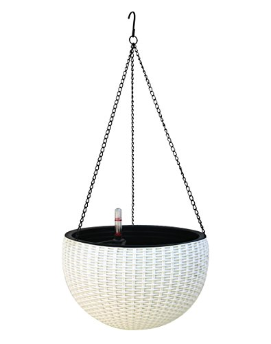 TABOR TOOLS Self-Watering Hanging Planter for Indoor-Outdoor. Wicker-Design, 10 Inch Diameter Plastic Weave Basket with Water Level Indicator Gauge. TB702A. (White)
