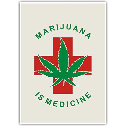 Yooce Marijuana is Medicine Cannabis Weed Leaf Poster Art Print Wall Decor, Unframed 18