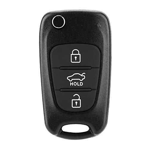 Esenlong Flip 3 Button Remote Key Fob Case Shell Cover Fit for Kia Rondo Sportage Soul Rio Black 1Pc