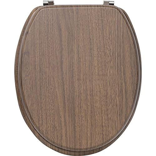 TIENDA EURASIA® Tapa de WC Universal - Diseño Efecto Madera - Tapa Fabricada en MDF con Bisagras de Acero Inoxidable - Medida 43,5 x 37,5 cm (4109675 - Acacia)