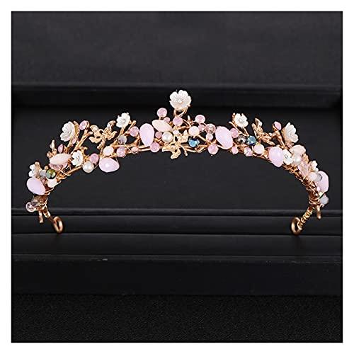 feichang Corona de boda con hojas, flor, corona dorada, estrás, perla, corona, diadema, accesorios para el pelo, accesorios (metal color: dorado)