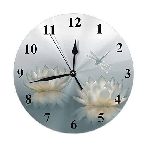 GOSMAO 25cm (9.8') Redondo Reloj de Pared Silencioso No Tick Tack Ruido Reloj de Pared Libélula sobre botánica Lirio de Agua Lotus Pond