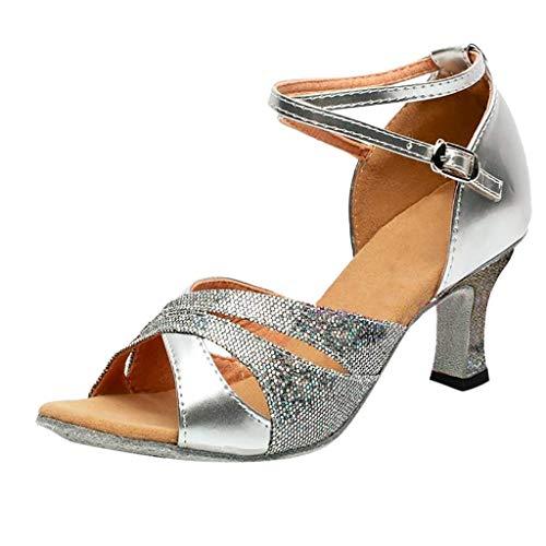 Zapatos de Baile Latino para Mujer Zapatillas de Baile de salón Salsa Performance Calzado de Danza Tacón Medio Verano Mujeres Zapatos Vestir de Fiesta riou