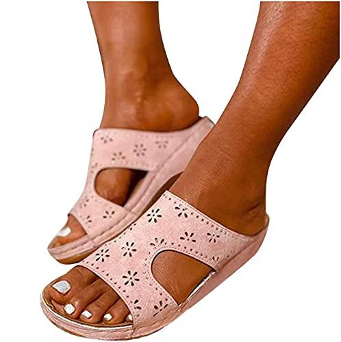 ZLZNX Sandalia de Plataforma Casual Ortopédica para Mujer, Cómoda y Elegante, con Plataforma de Cuña, Sandalias Informales al Aire Libre,Rosado,35 CN
