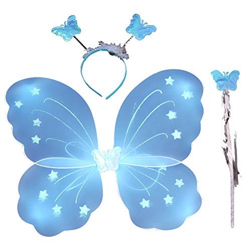 LUOEM Costume da fata per bambina, farfalla, ali bacchetta per capelli, 3 pezzi, colore: blu
