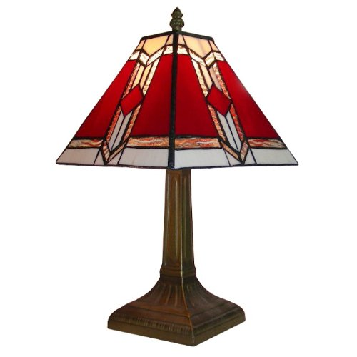 Tiffany Style Bronze Base and Red and White Stained Glass Designer Aztec Table Lamp