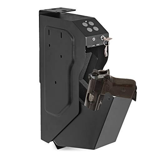 BananaB Stahl Security Gun Box mit Sicherheitskennwort und 2 Schlüssel tragbare Gun Box Safe 4 X AA-Batterie Waffen Tresor für Hause Sicherheit (Sicherheitskennwort und Schlüssel)