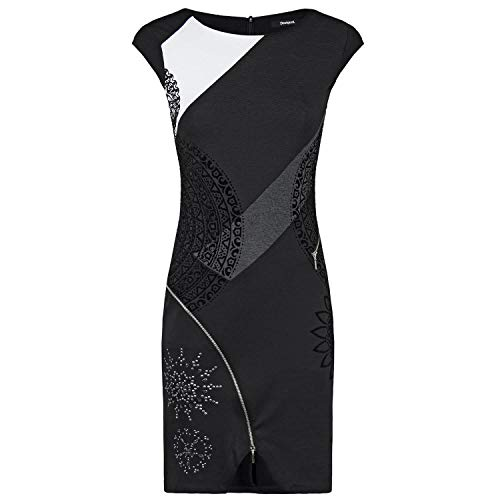 Desigual Vest_Lidia Vestido, (Negro 2000), Small para Mujer