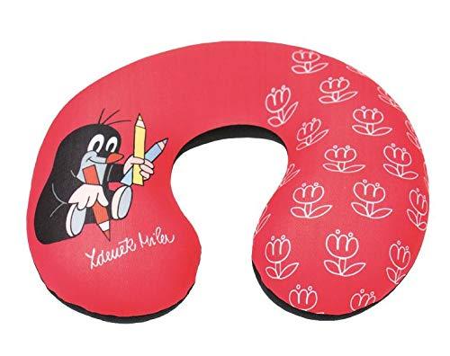 Der kleine Maulwurf Nackenrolle / Nackenstütze / Kissen: Rot mit Stift-Motiv und Tulpen, handmade