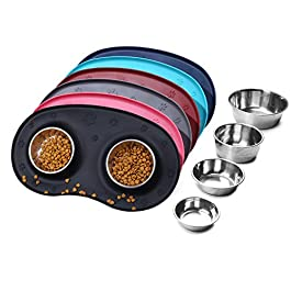 VIVAGLORY Dog Bowls Set with Double Stainless Steel Feeding Bowls and Wider Non Skid Spill Proof Silicone Mat for Cats Puppies Dogs